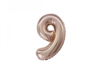 NÚMERO 9 ROSA GOLD DE 14 PULGADAS