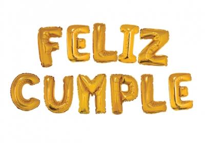 FELIZ CUMPLE DORADO - 14 PULGADAS