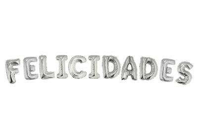 FELICIDADES PLATEADO - 14 PULGADAS