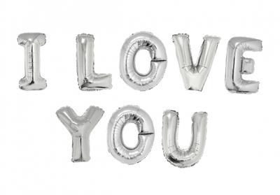 I LOVE YOU PLATEADO - 14 PULGADAS