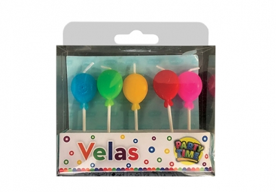KIT 5 VELAS GLOBOS MULTICOLOR